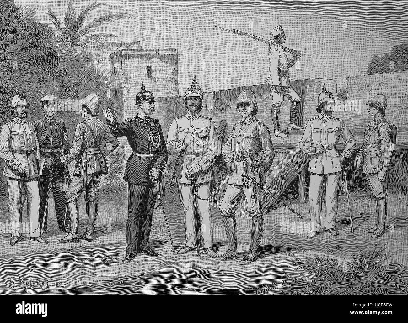 The new uniform of the German-East African protection force, Woodcut from 1892 Stock Photo