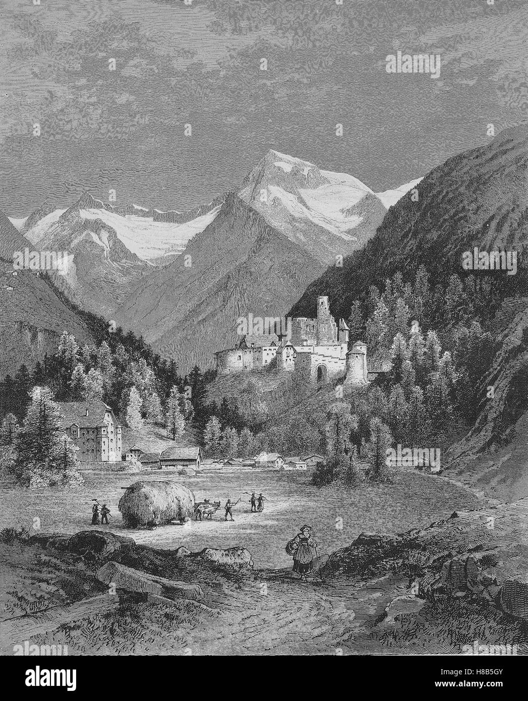 Reichenberg Castle, Taufers im Muenstertal in South Tyrol in northern Italy, Woodcut from 1892 - Stock Image