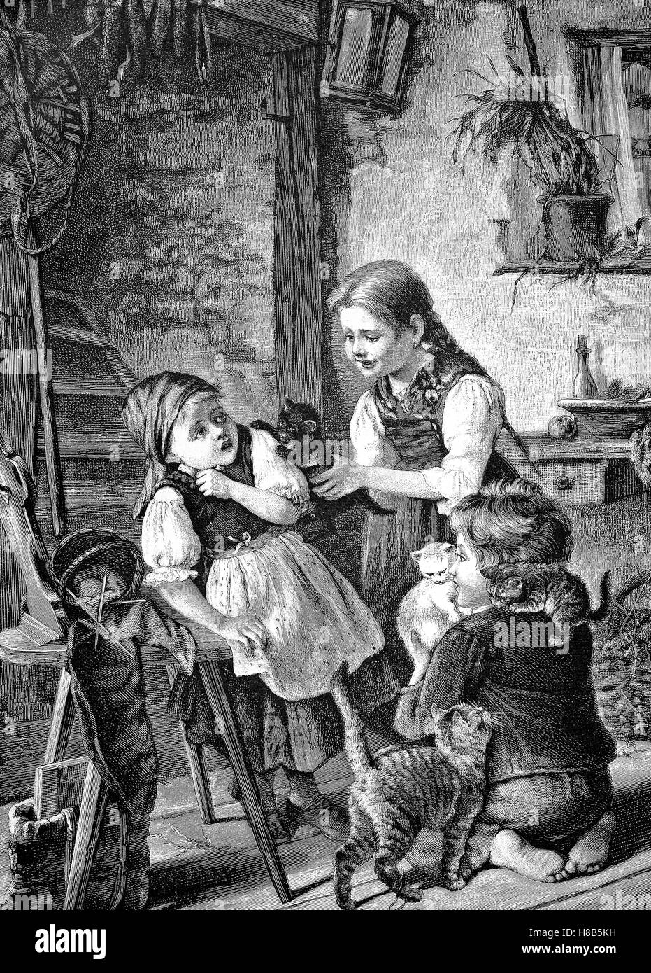Children playing with kittens, Woodcut from 1892 - Stock Image