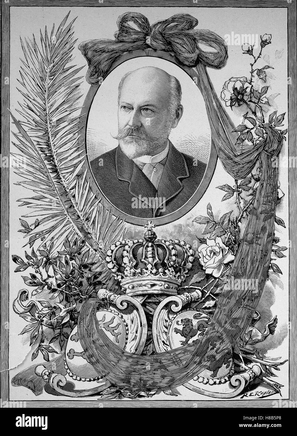 Charles, Karl Friedrich Alexander, Koenig von Wuerttemberg; 6 March 1823 - 6 October 1891, was King of Wuerttemberg, - Stock Image