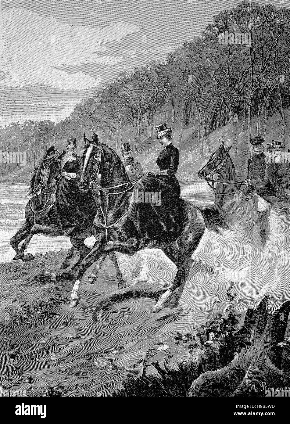 Empress Augusta Victoria on a promenades ride in Grunewald in Berlin, Germany, Woodcut from 1892 - Stock Image