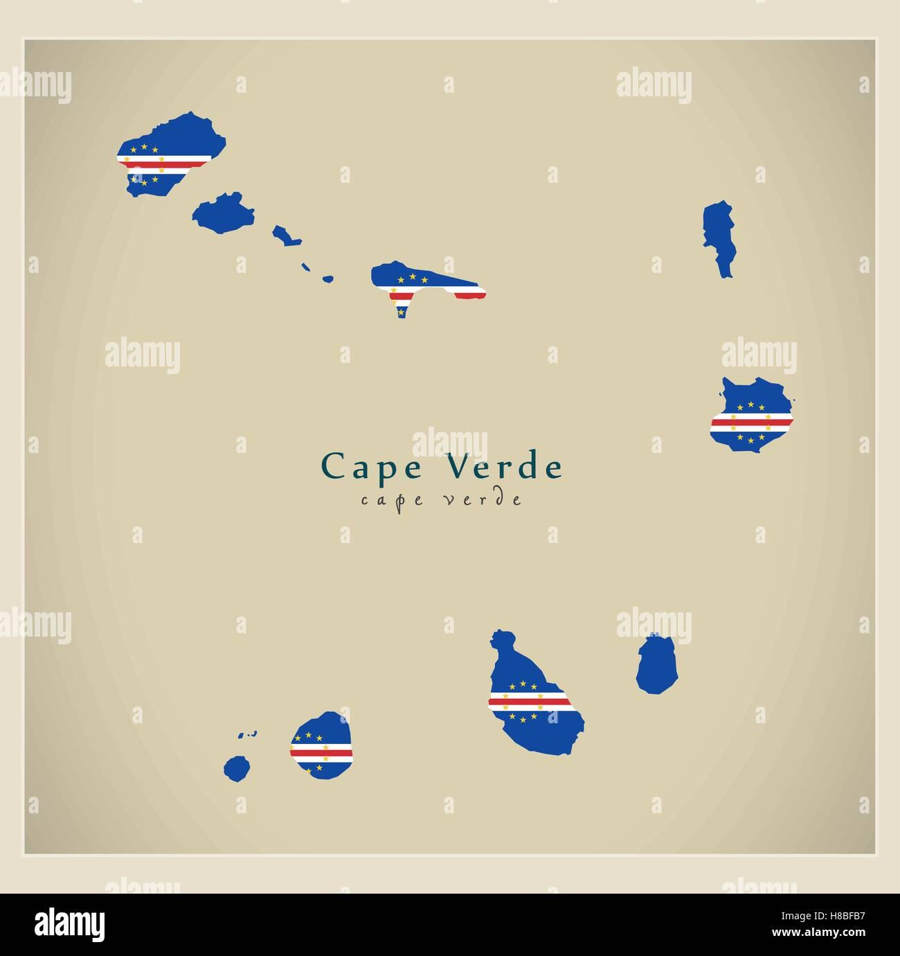 Modern Map - Cape Verde flag colored CV Stock Vector Art ...