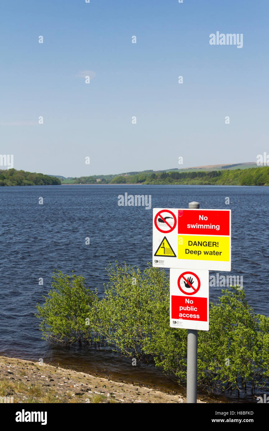 Danger deep water, no swimming sign at the south end of lower Rivington reservoir near Horwich, Lancashire. Stock Photo