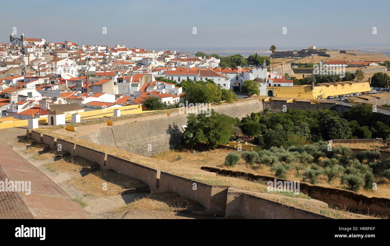 ELVAS, PORTUGAL: View of the Old Town from the city walls with Forte de Santa Luzia in the background Stock Photo