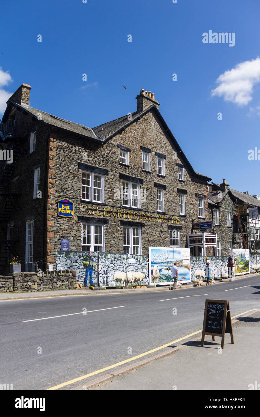 Glenridding hotel closed for refurbishment following winter flooding in the centre of Glenridding village, Cumbria. - Stock Image