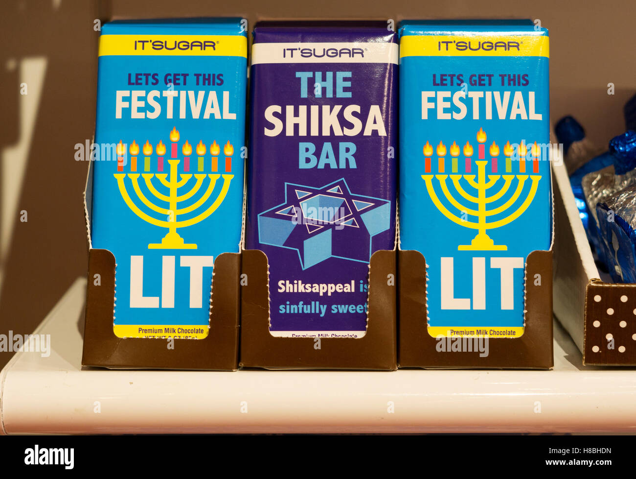 Funny Hanukkah gift chocolate bars for sale at It'sugar on Broadway in Greenwich Village, New York City - Stock Image