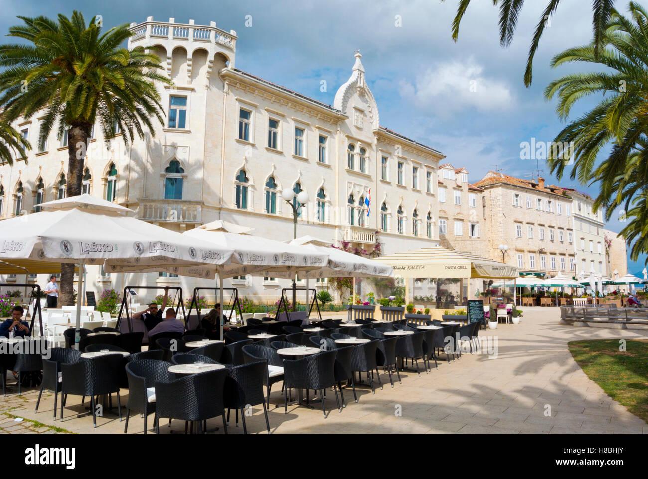 Obala bana Berislavica, with Lucic palace, seaside promenade, old town, Trogir, Dalmatia, Croatia Stock Photo