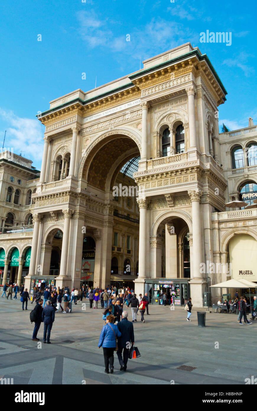 Piazza Del Duomo With Facade Of Galleria Vittorio Emanuele