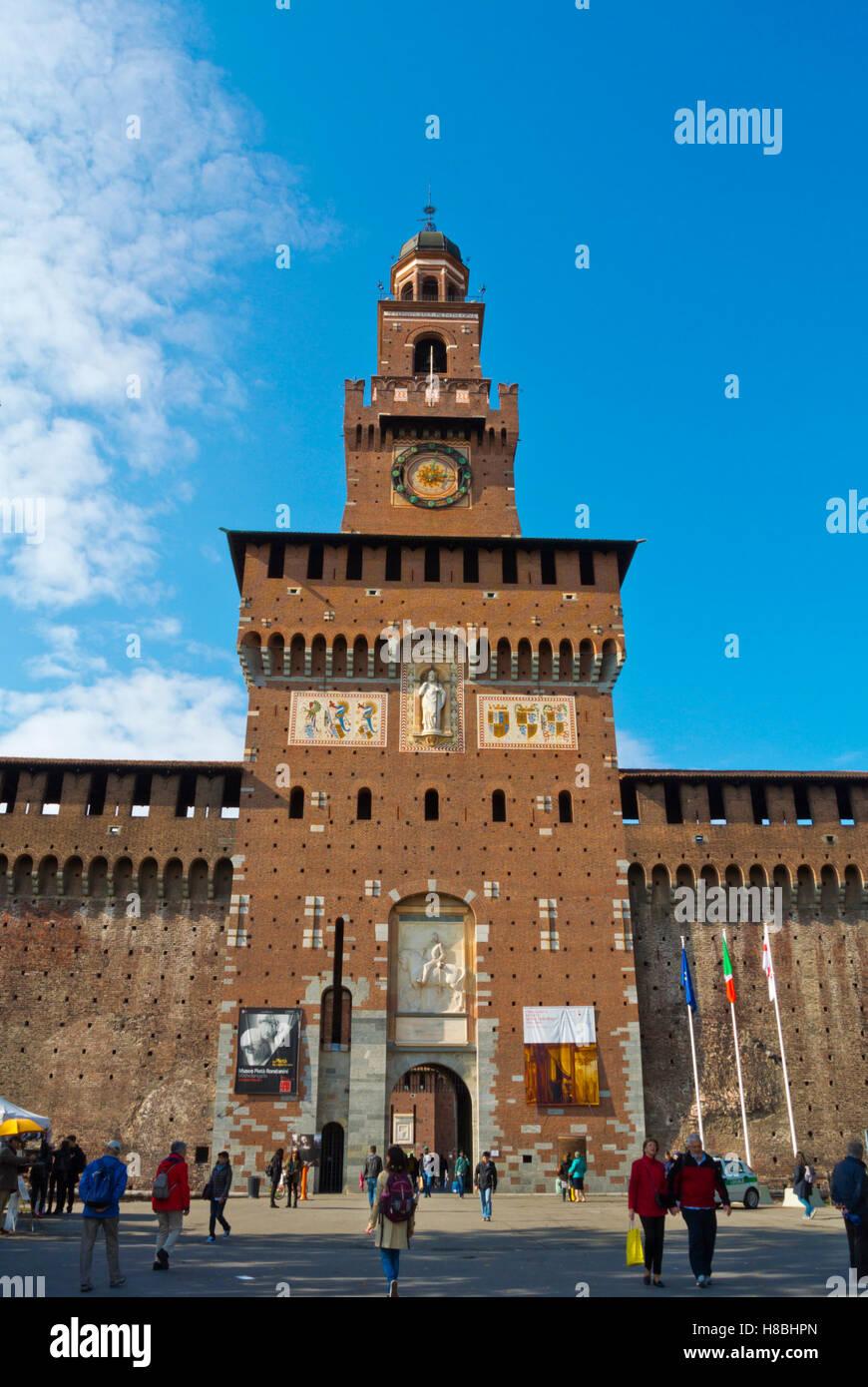 Torre del Filarete, Castello Sforzesco, Parco Sempione, Milan, Lombardy, Italy - Stock Image