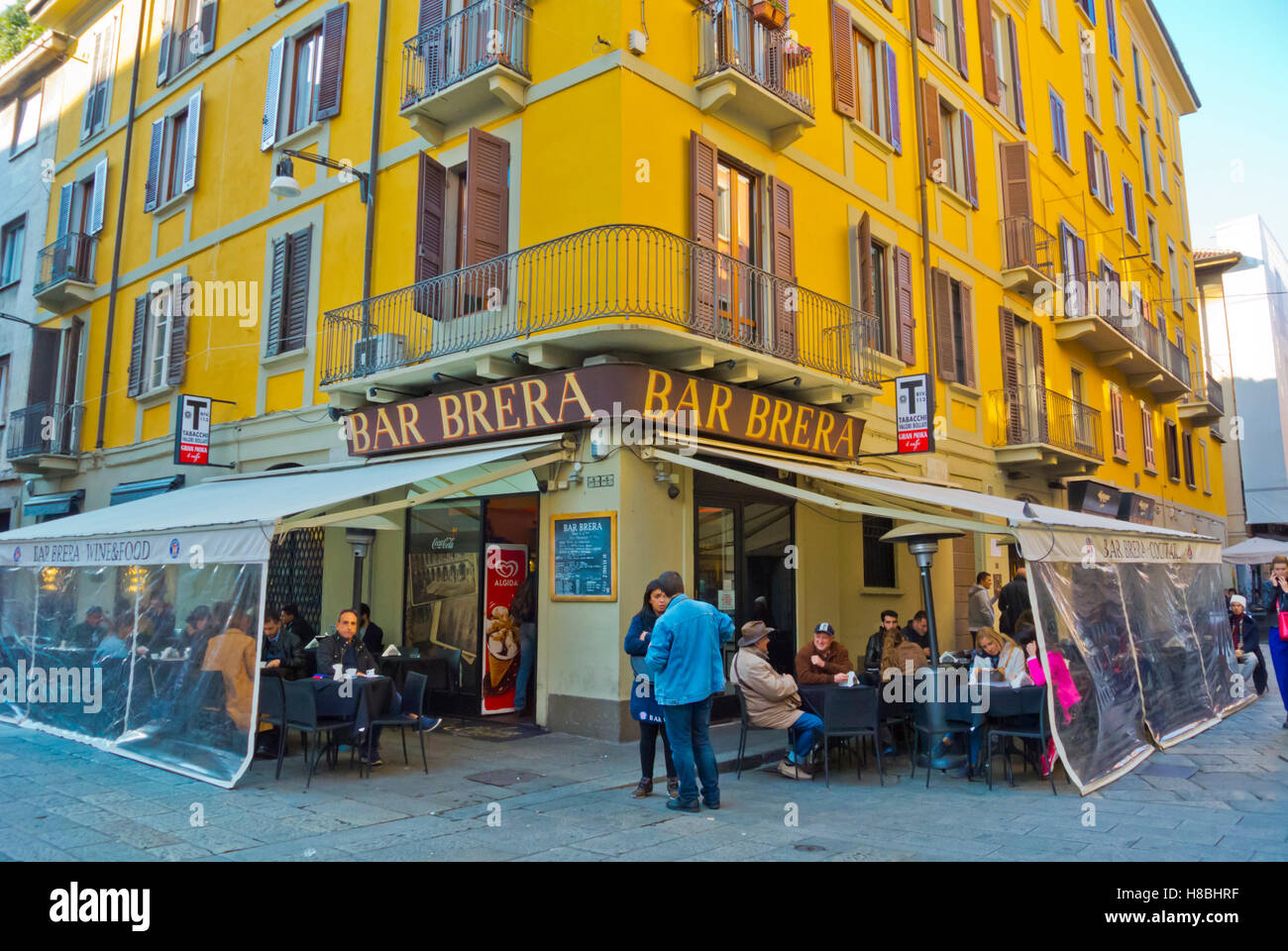Bar Brera, Via Brera, Brera district, Milan, Lombardy, Italy - Stock Image