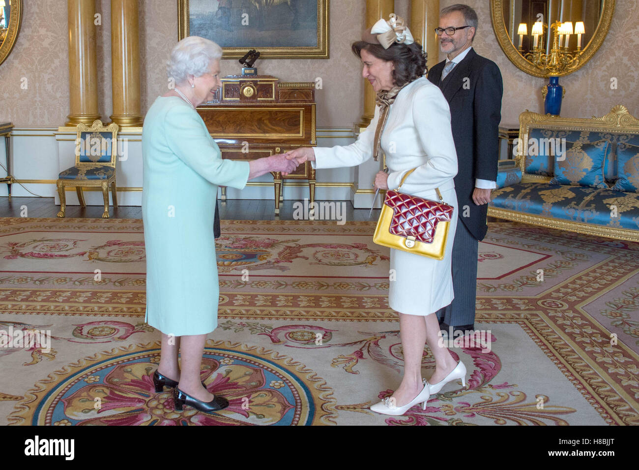 Her Excellency Ms. Elisabeth Hayek-Weinmann accompanied by her husband Wolfgang Weinmann is received in audience - Stock Image