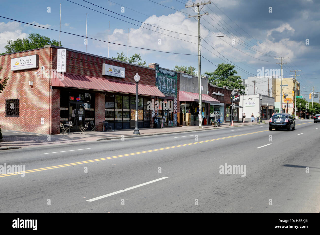 Central Avenue looking Northeast from Pecan Avenue in Plaza-Midwood, Charlotte, NC - Stock Image