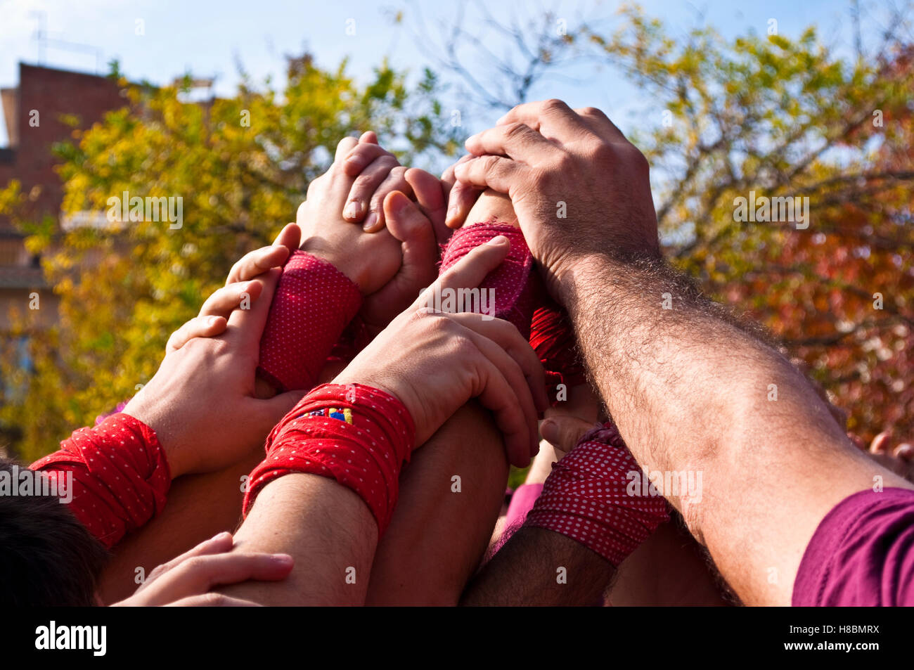 Castellers, human towers, Tradition - Stock Image