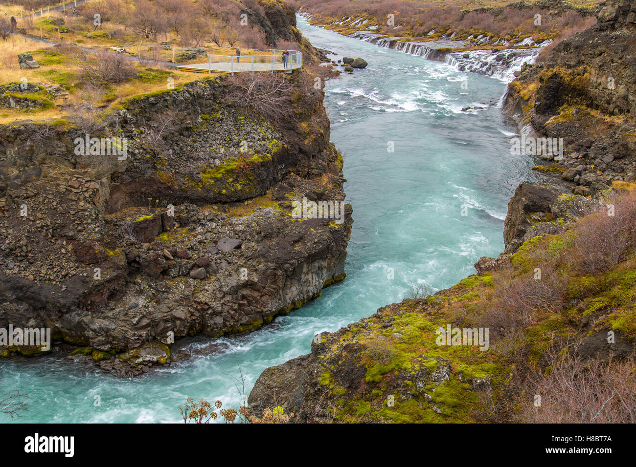 Hvita river and Hraunfossar waterfall in Iceland - Stock Image