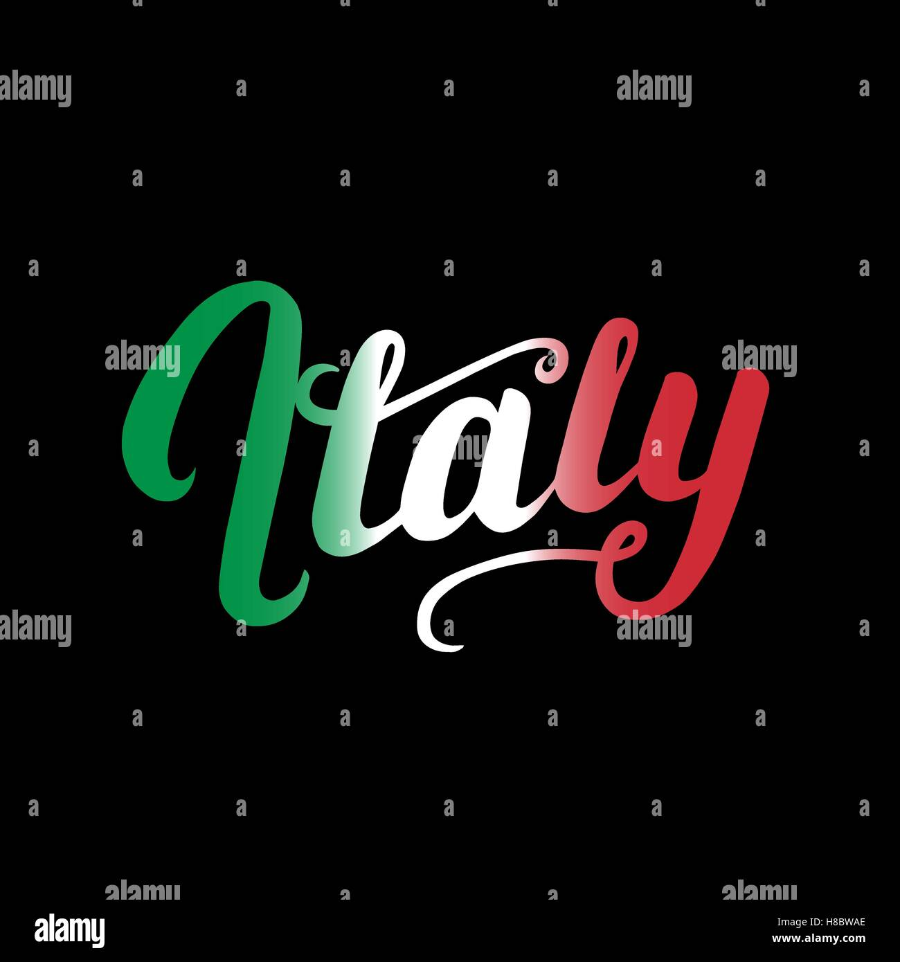 Italy hand written typography lettering for card, poster, print. Letters in the gradient colors of the Italian flag. - Stock Image