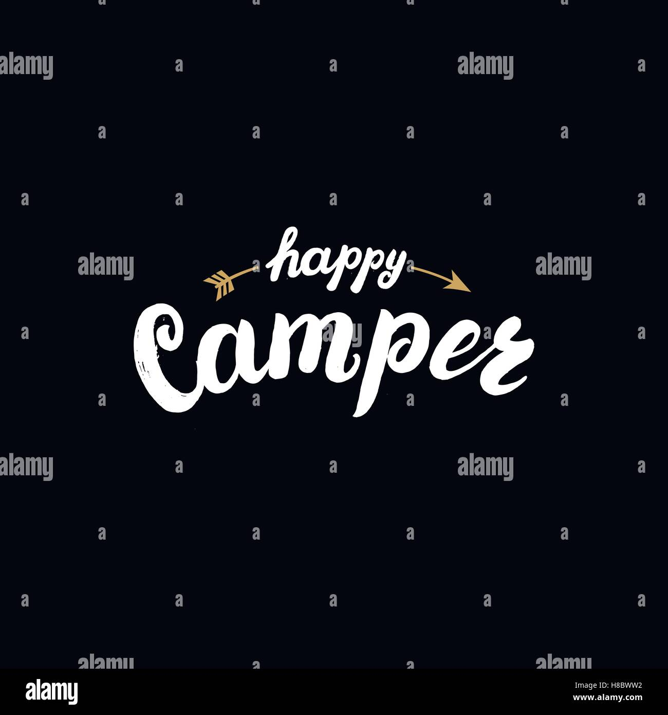 Happy Camper Hand Written Lettered Badge Phrase Apparel Design On Black Background Tee Print Vector Illustration