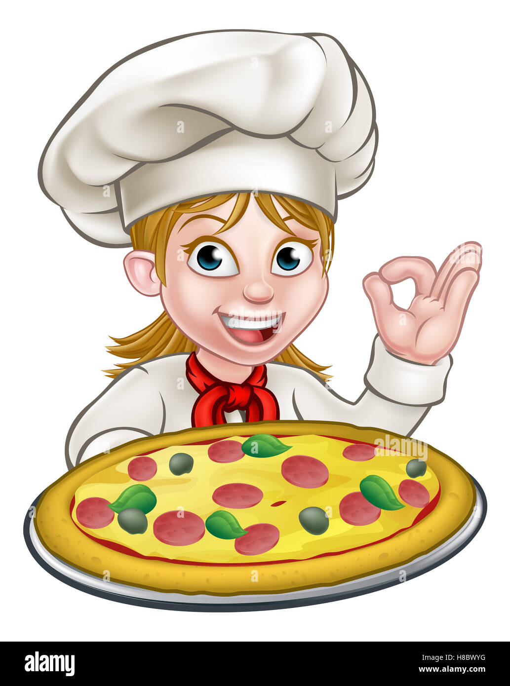 Cartoon Female Woman Chef Character Holding A Pizza And Giving A