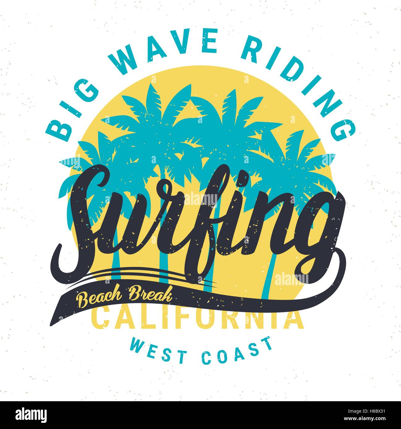 Vintage Retro Surfing Tee Print With Palms Handdrawn T Shirt Graphic Vector Illustration