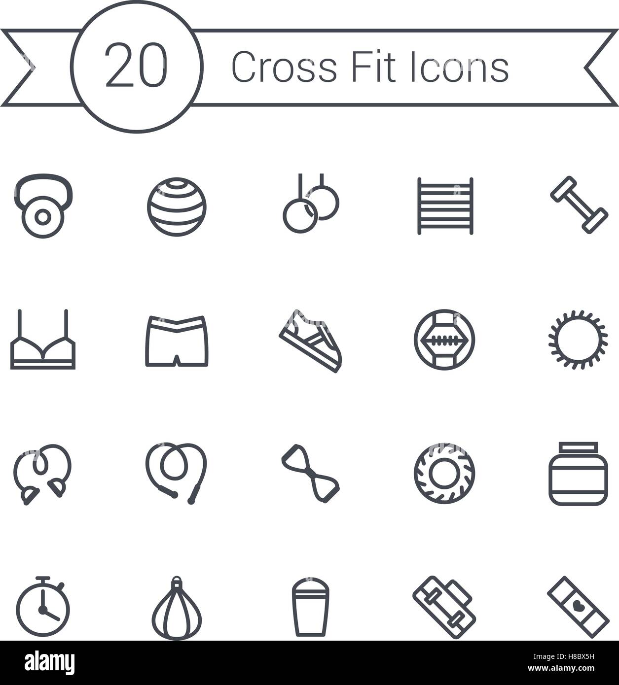 Set of crossfit gym equipment line icons of dumbbells, fitball, protein, stopwatch, punching bag, workout clothes Stock Vector