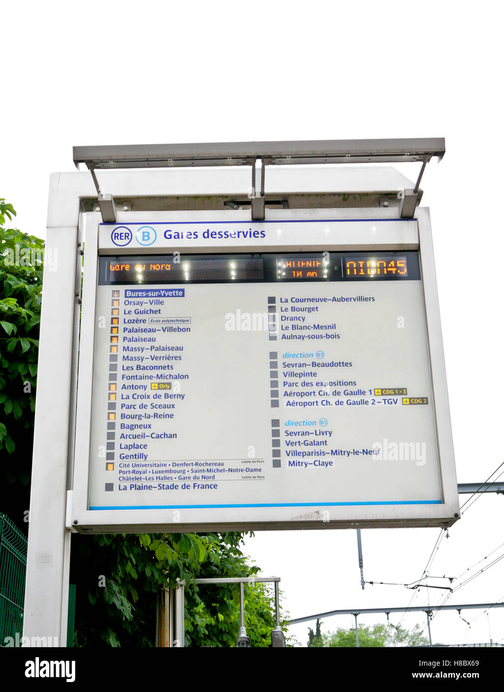 RER B, train/metro station panel sign,with the names of stations where the train will stop. France - Stock Image