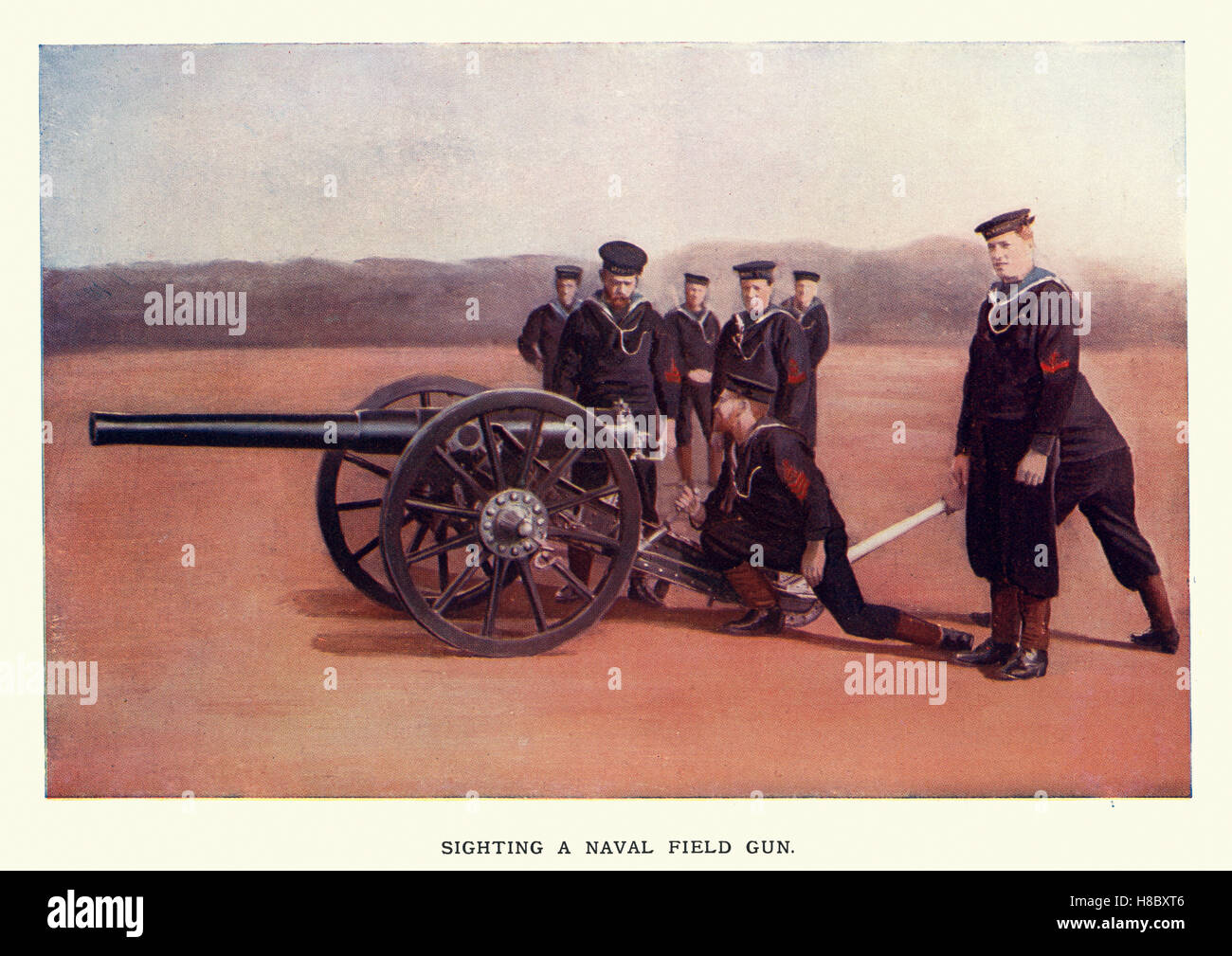 Vintage engraving of British Royal Navy Sailor manning a field gun, during the second boer war.1900 - Stock Image