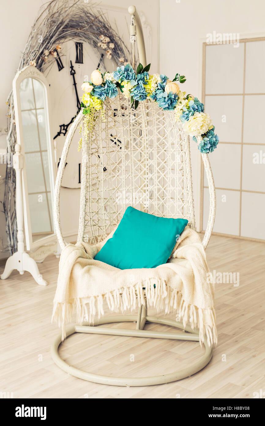 Elegant Armchair In Luxury Clean Bright White Interior