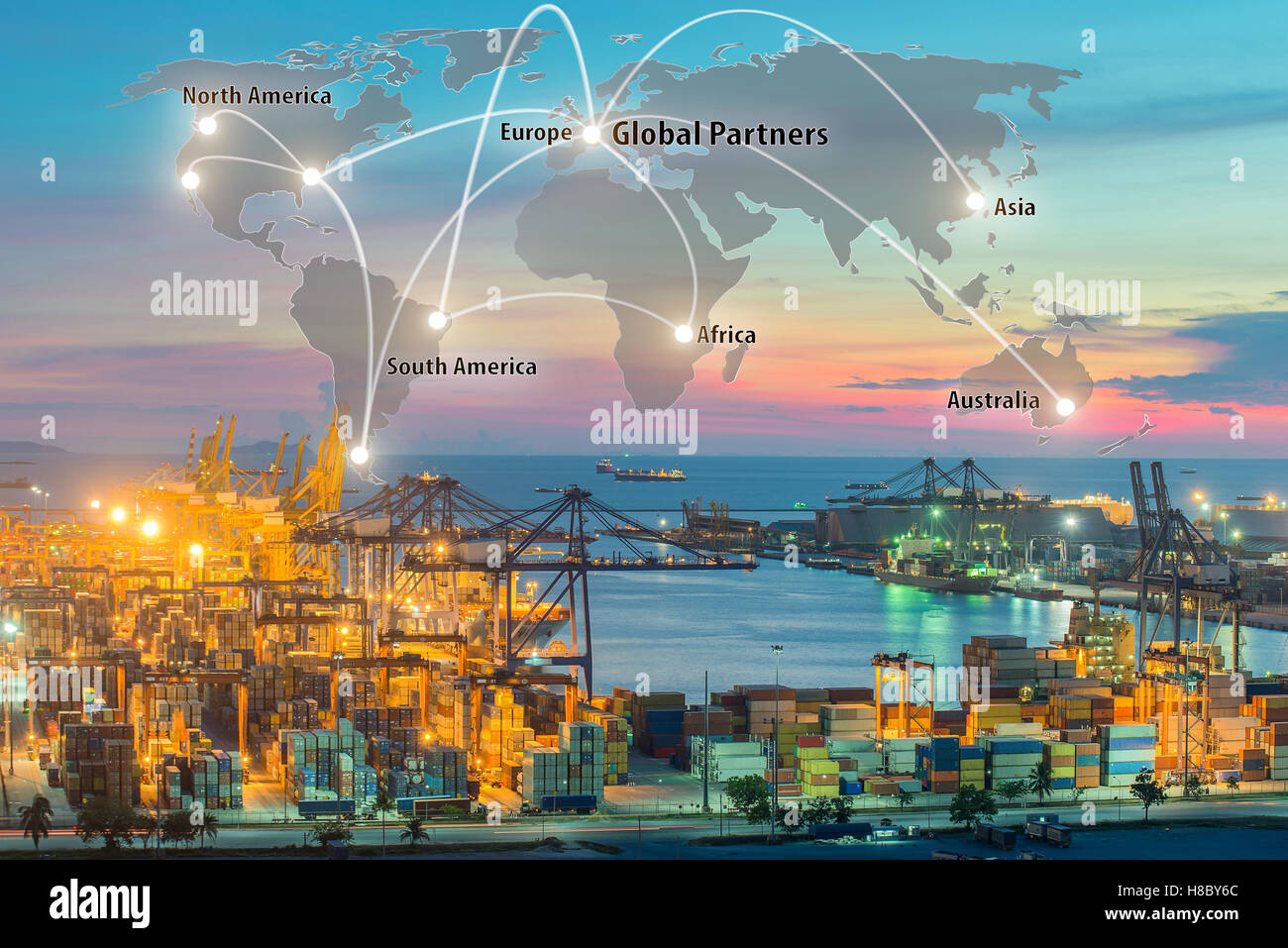 Map global logistics partnership connection of Container Cargo freight ship for Logistics Import Export background, - Stock Image