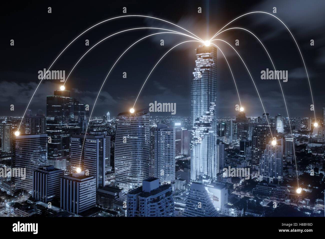 Network business connection system on Bangkok city in background. Network business connection concept - Stock Image