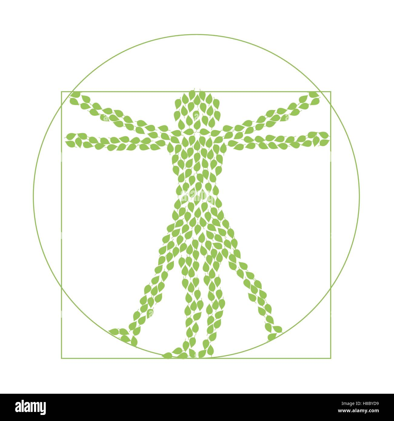 Man s silhouette from green leaves. vector logo sign concept illustration. Vector logo template. Ecological and - Stock Vector