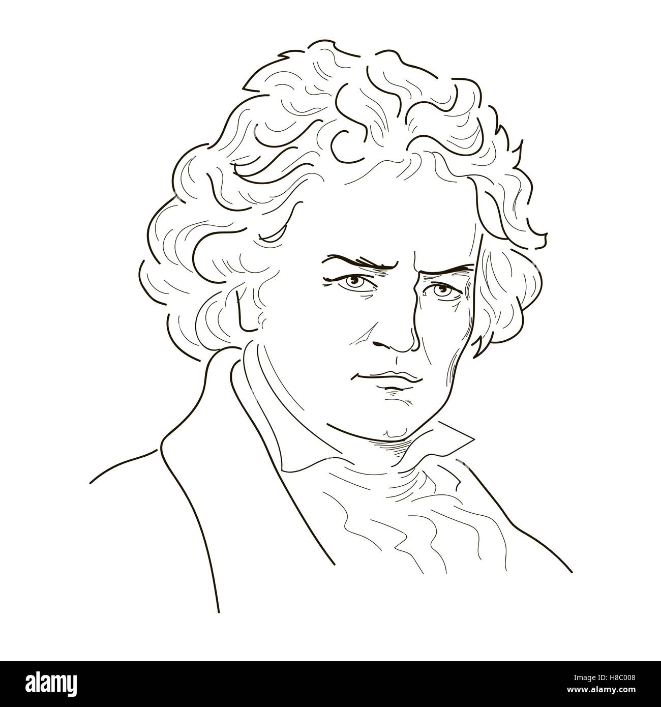 Ludwig van Beethoven. Sketch illustration. Black and white. Vector. - Stock Image