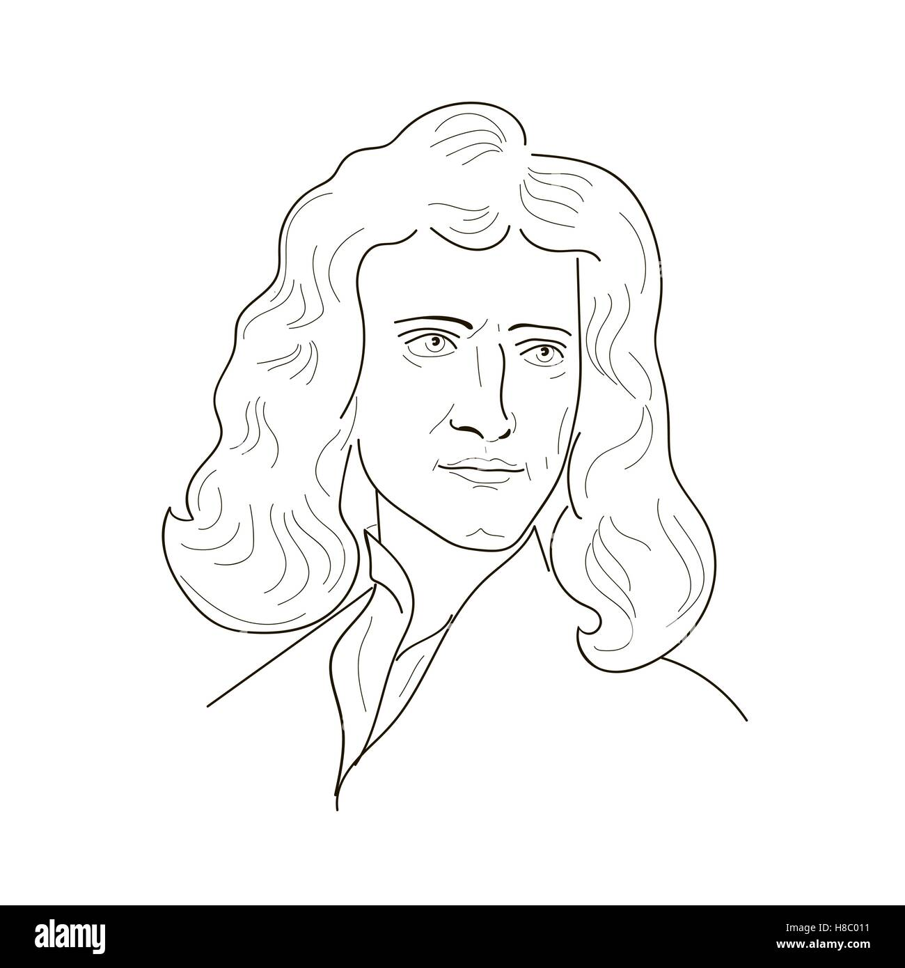 Isaac Newton, an English physicist and mathematician.Sketch illustration. Vector. - Stock Vector