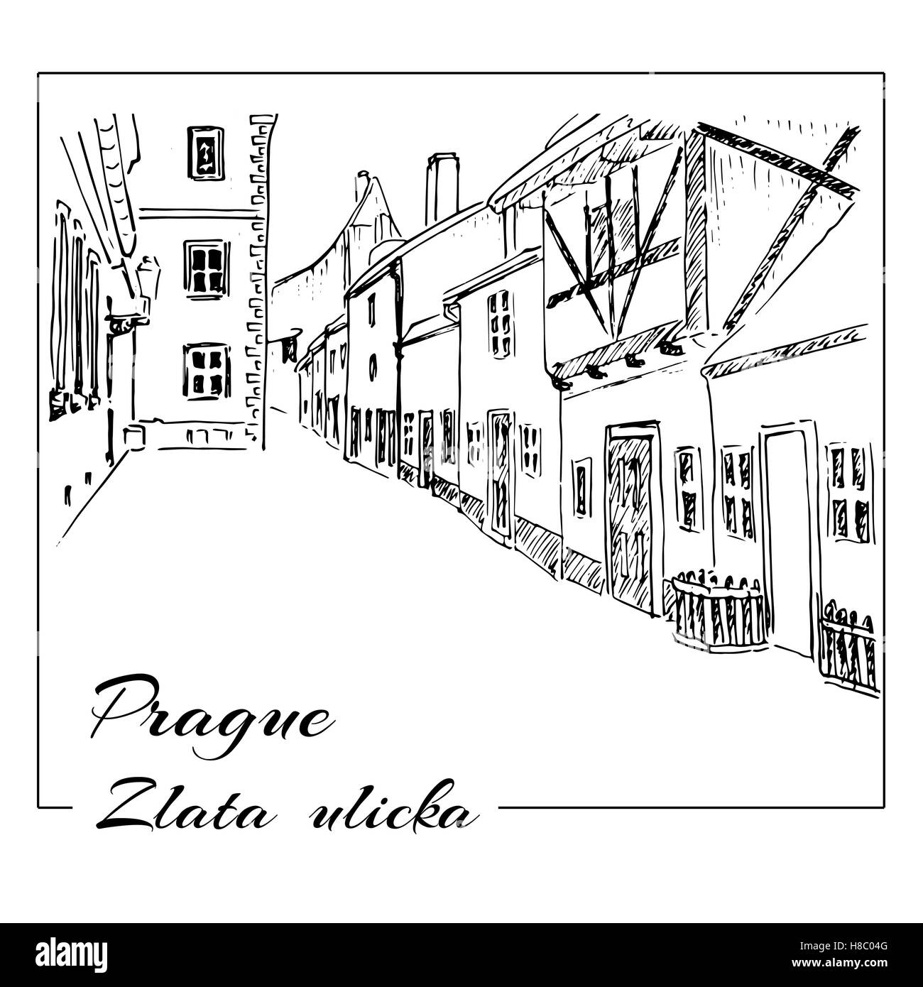 Prague. Vector hand drawn sketch. Zlata ulicka - Golden street. - Stock Image
