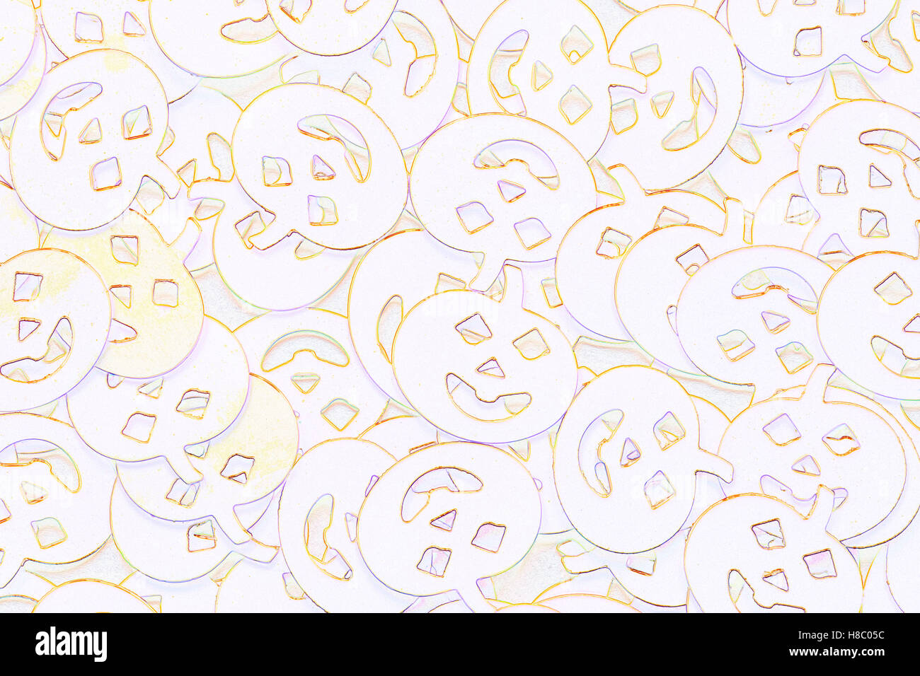 Line drawings effect of Halloween Mystical Confetti - pumpkins faces decorations spread out on white background - Stock Image