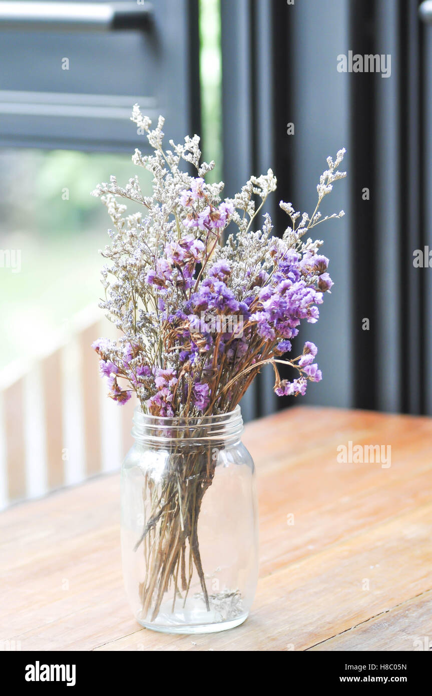 statice flowers in a vase - Stock Image