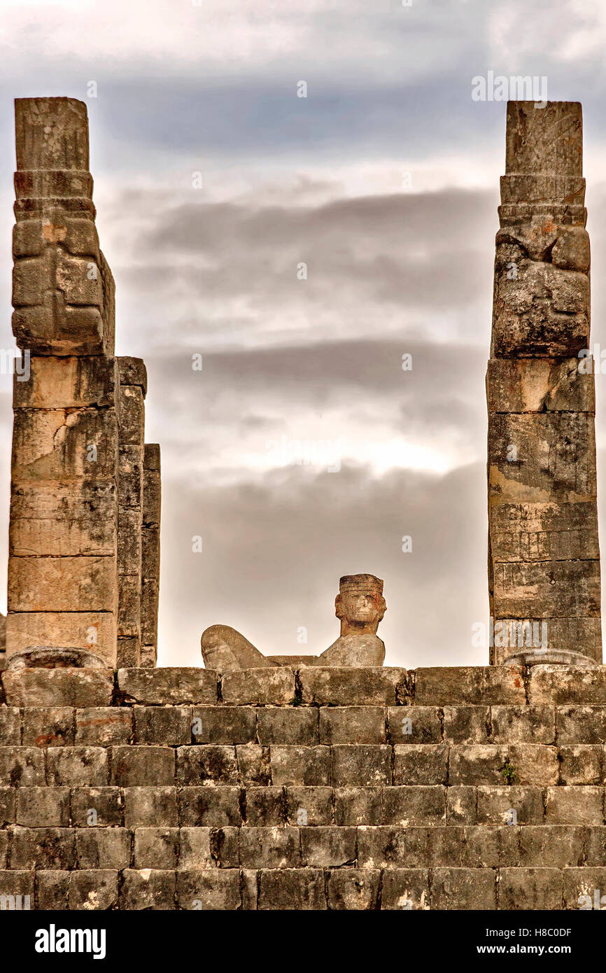 Detail Temple of the Warriors showing Chac Mool Chichen Itza Mexico - Stock Image
