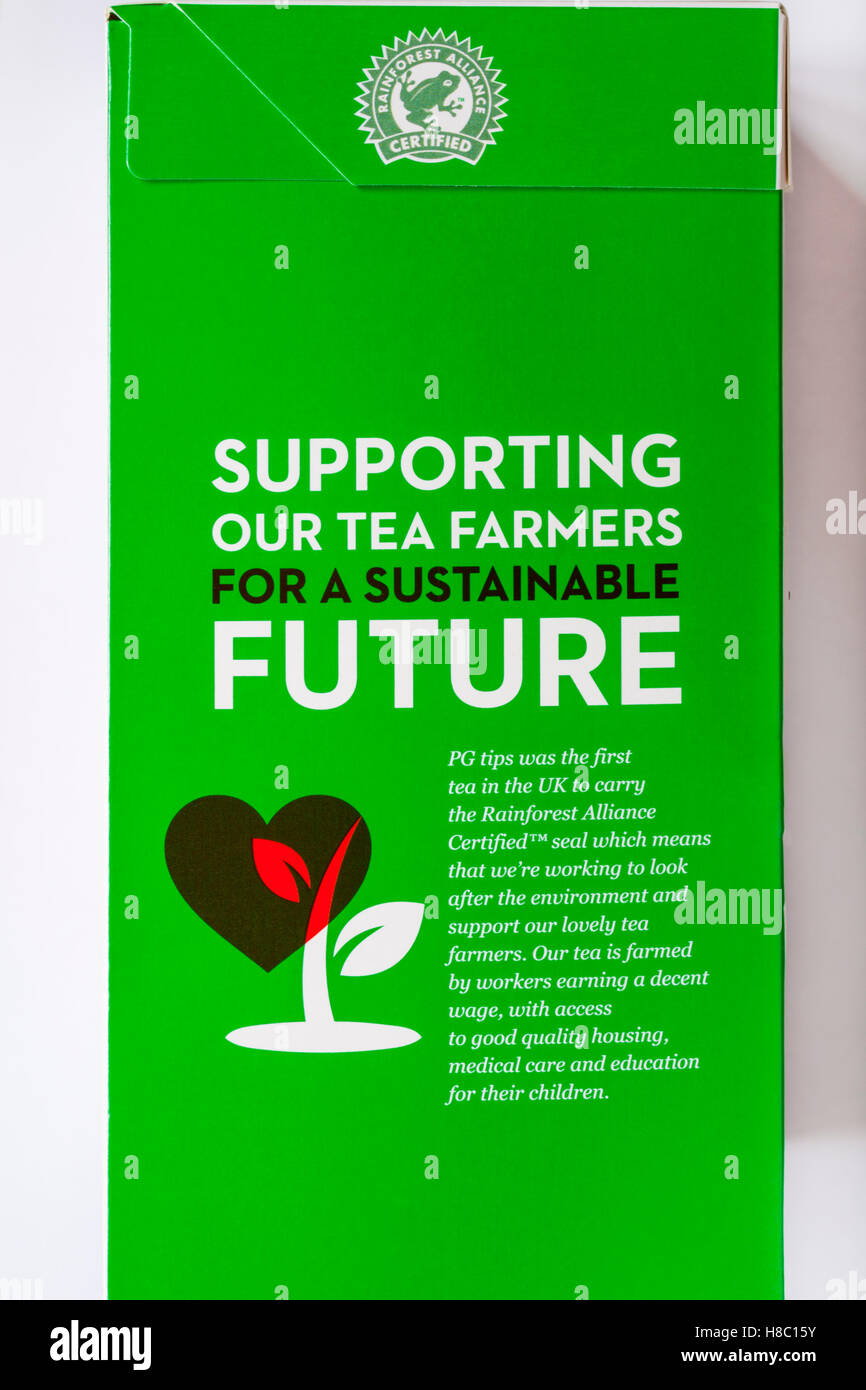 Supporting our tea farmers for a sustainable future - information on PG Tips teabags box with Rainforest Alliance - Stock Image