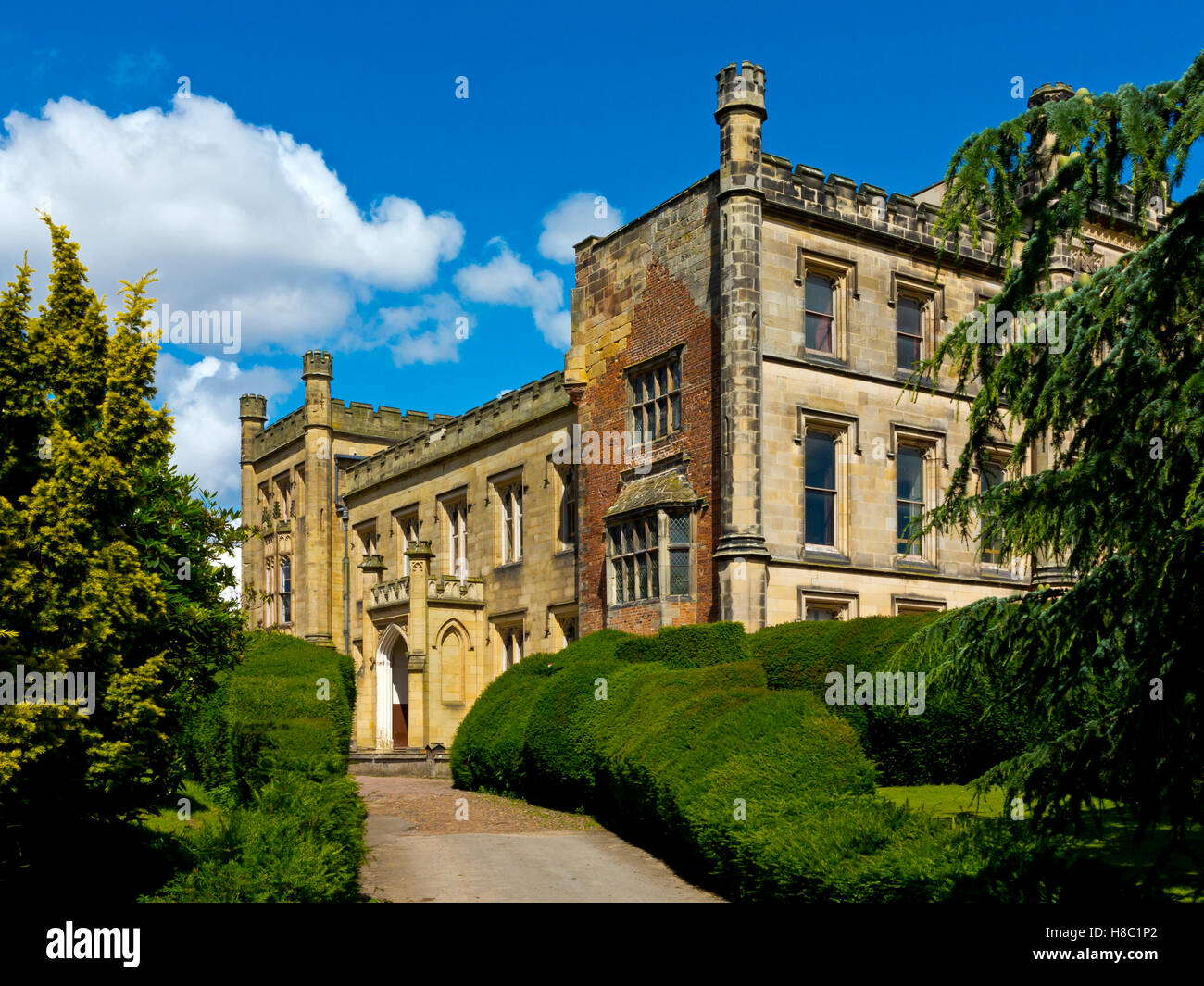 Elvaston Castle a gothic revival stately home in the grounds of Elvaston Country Park near Derby Derbyshire England - Stock Image