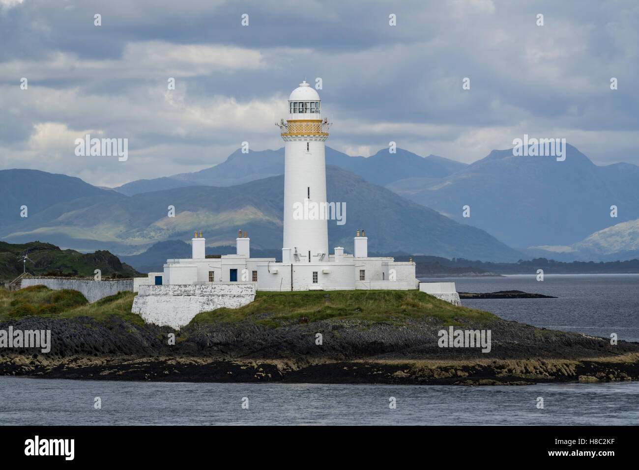 Oban-Mull ferry, Scotland - Craignure to Oban journey. Eilean Musdile lighthouse. - Stock Image