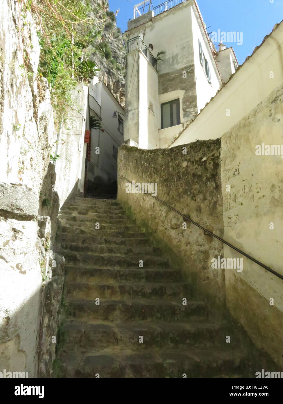 Back street steps off of the main street in Amalfi - Stock Image