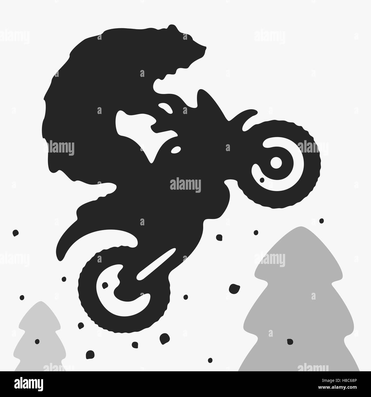 Bear Bike Vector Illustration - Stock Vector