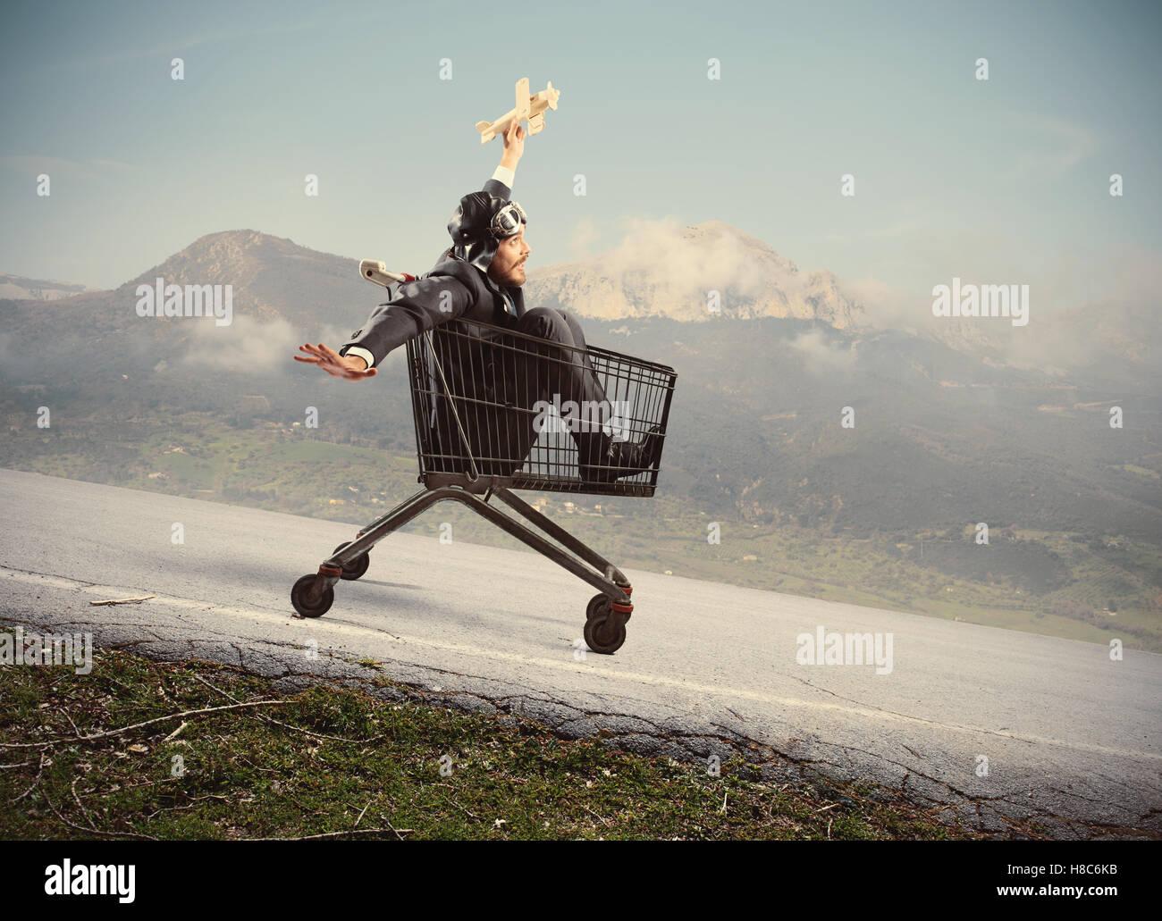 Crazy businessman like a child - Stock Image