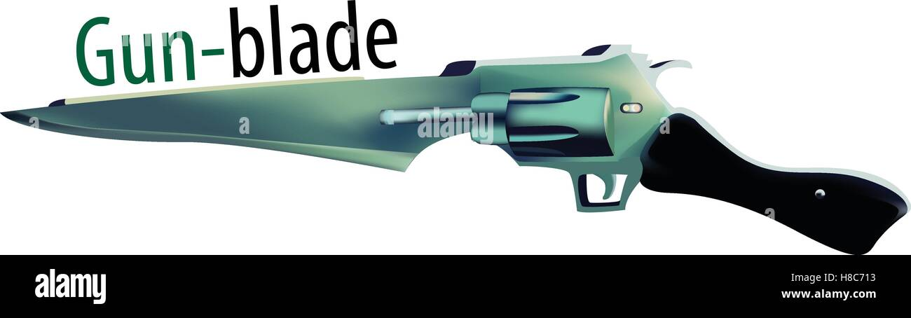 Vector illustration of Gunblade - Stock Vector