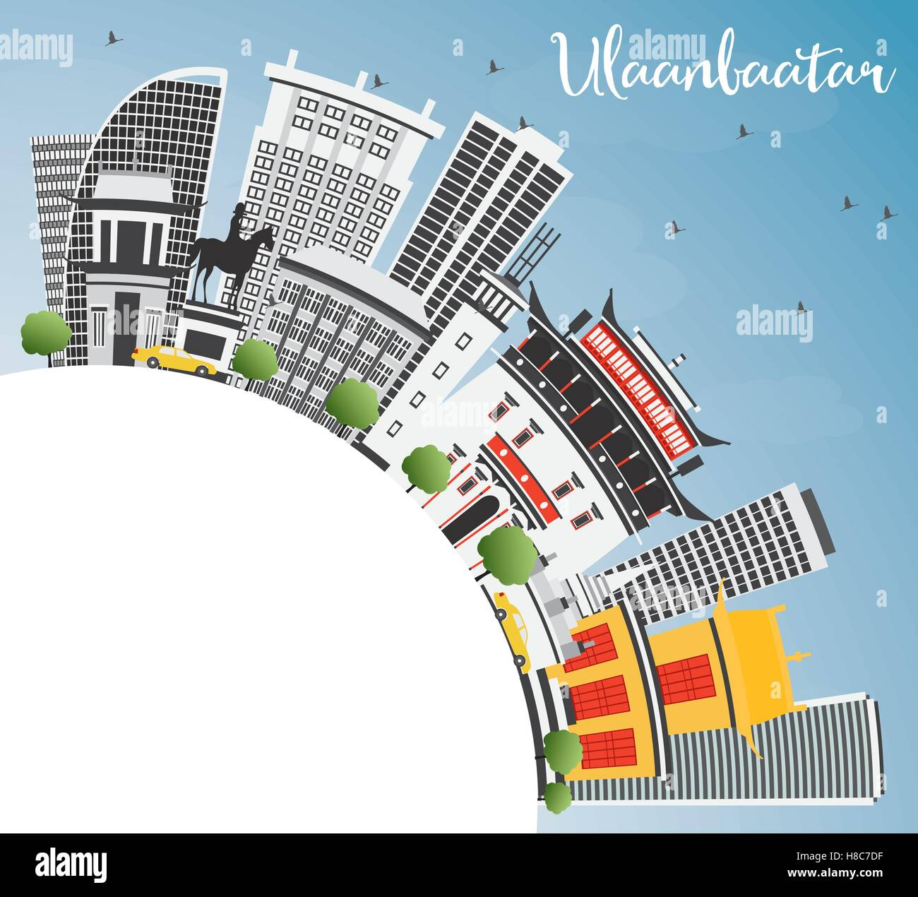 Ulaanbaatar Skyline with Gray Buildings, Blue Sky and Copy Space. Vector Illustration. Business Travel and Tourism - Stock Vector
