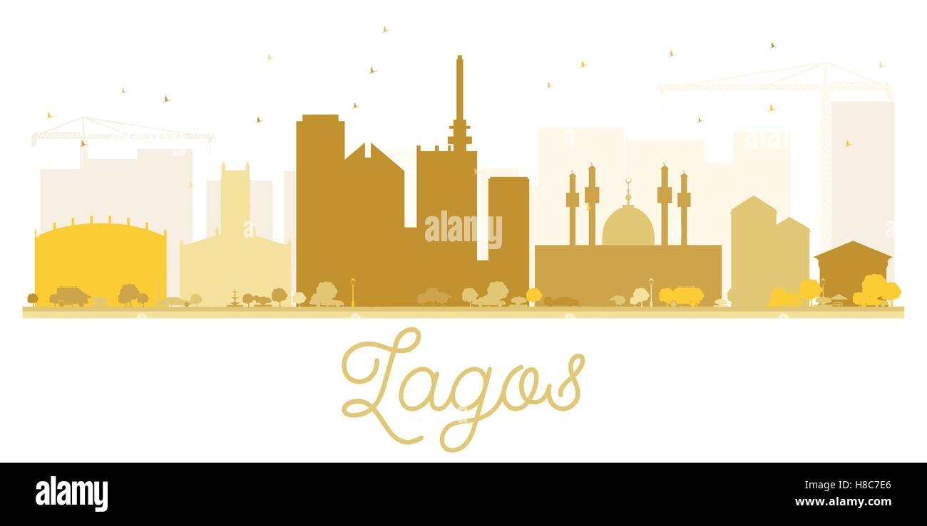 Lagos City skyline golden silhouette. Vector illustration. Simple flat concept for tourism presentation, banner, - Stock Image