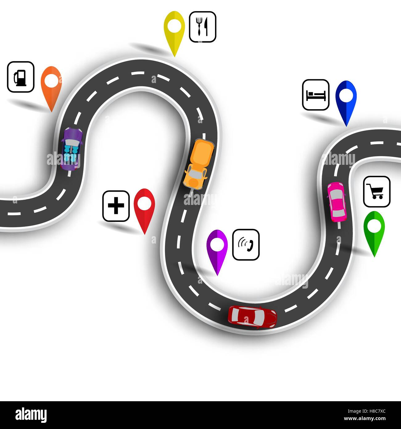 Infographic. Winding road with signs. 3D. Cars. The path indicated by the navigator. illustration - Stock Image