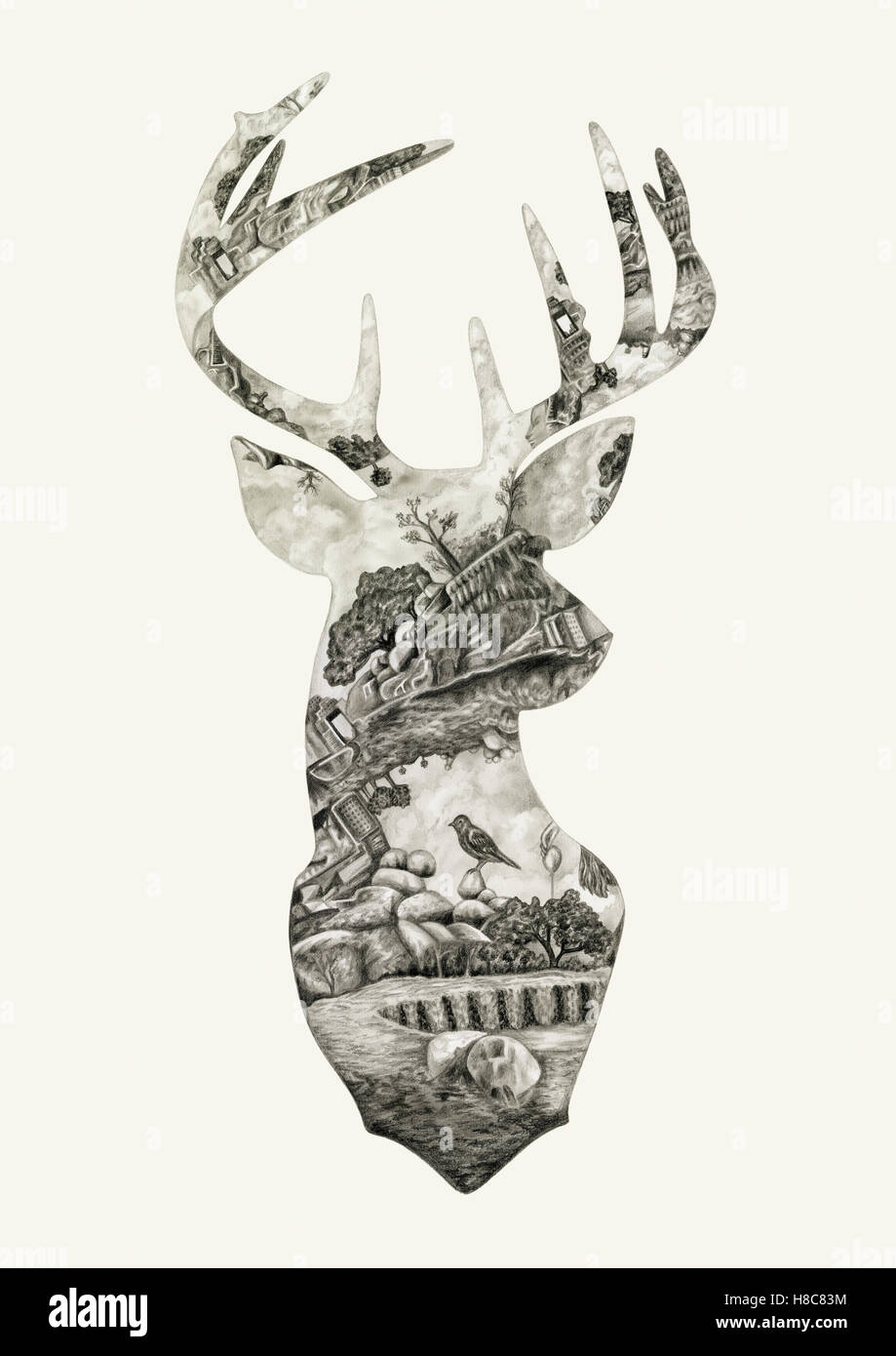 Silhouette of deer with nature pattern - Stock Image