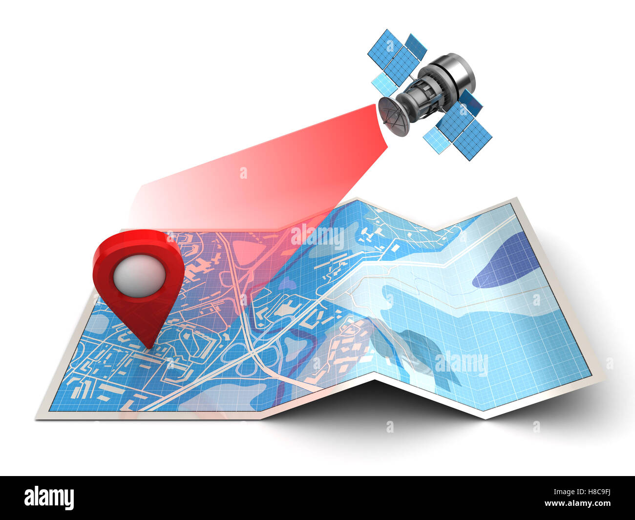 3d illustration of map and satellite - gps navigation conept - Stock Image