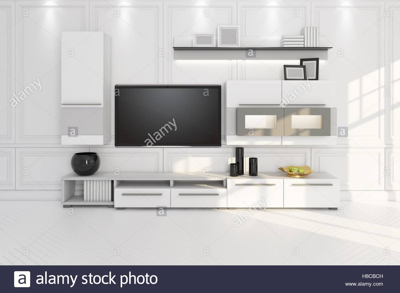 Contemporary Living Room Tv Furniture Home Wall Unit Stock Photos ...
