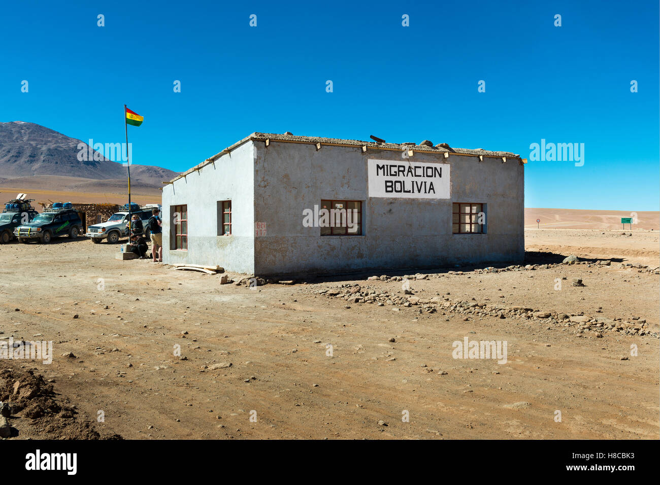 Potosí Department, Bolivia - November 25, 2013: View of the Customs office in the border between Chile and - Stock Image