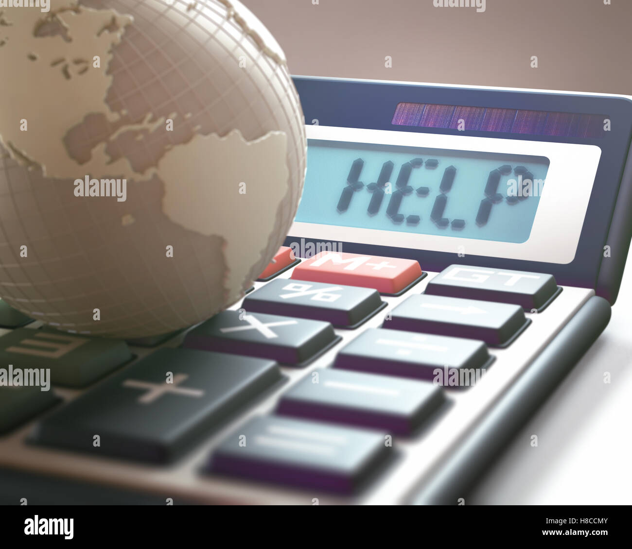 Calculator with the word HELP on the display, representing world financial crisis. 3D illustration, concept image - Stock Image